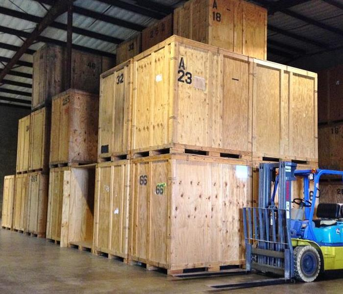 Crates for customer's packed belongings